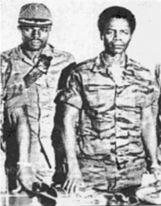 Quiwonkpa (l) and Doe after coup in 1980